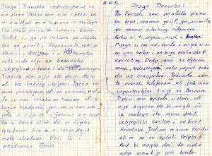 -Éanino pismo, 1. str. kojim se javlja Davorki da je stigla u Orebi-ç