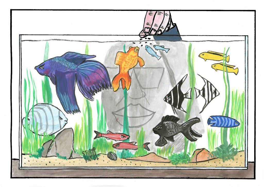 Stups karikatura opozicija akvarijum